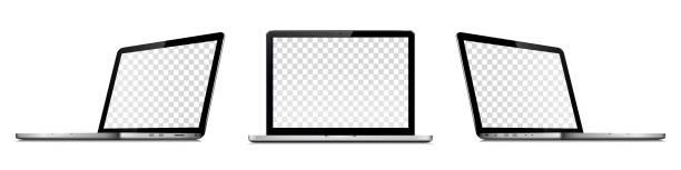 Laptop mit transparentem Bildschirm isoliert auf weißem Hintergrund. Perspektive und Frontansicht mit transparentem Bildschirm. – Vektorgrafik