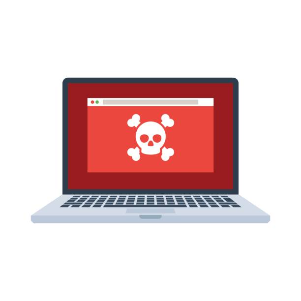 Laptop with virus Laptop with virus files on screen. Cybercrime and cyber security concept. Vector illustration in flat style isolated on white background computer virus stock illustrations