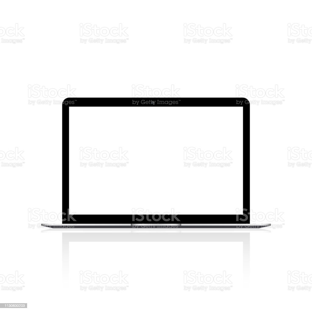 Laptop with white screen mock up. Vector