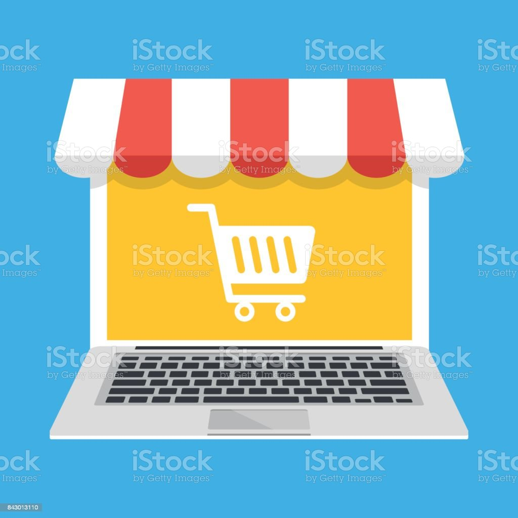 Laptop with white shopping cart icon on screen and storefront awning. E-commerce, ecommerce, online shopping, commerce, online store concepts. Modern flat design vector illustration vector art illustration