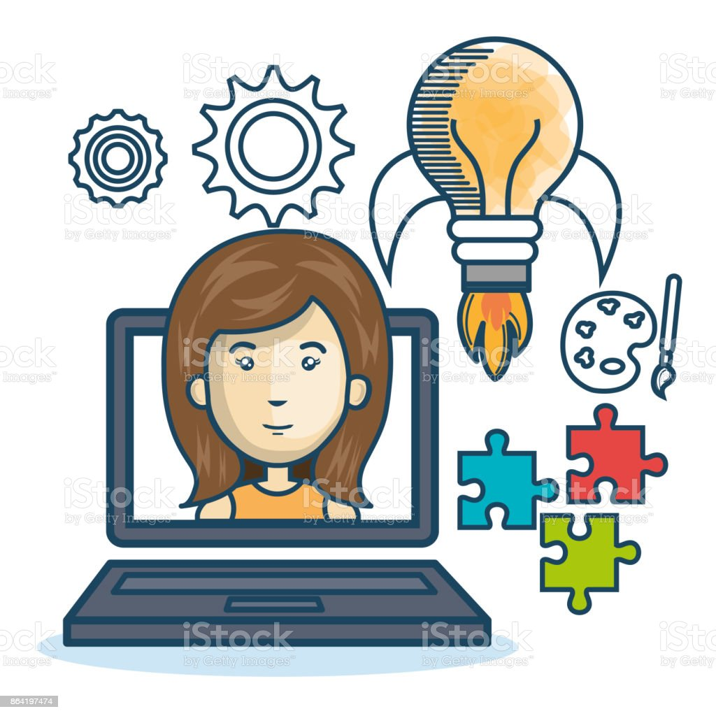 laptop woman education online concept design royalty-free laptop woman education online concept design stock vector art & more images of adult