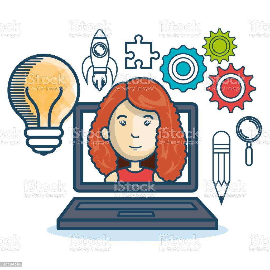 laptop woman education online concept design royalty-free laptop woman education online concept design stock vector art & more images of adult