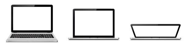 Laptop-offener und geschlossener Deckel – Vektorgrafik