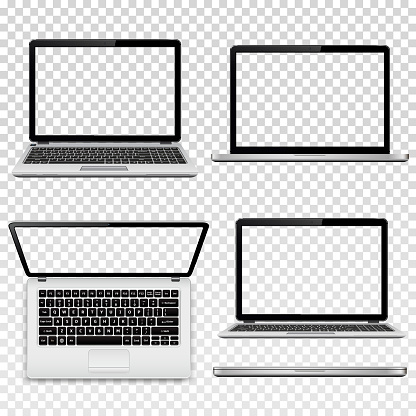 Laptops with transparent screen isolated on transparent background clipart