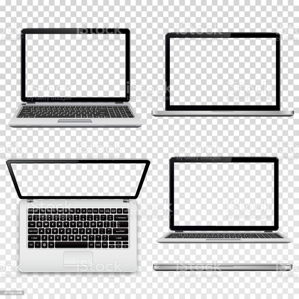 Laptops with transparent screen isolated on transparent background vector art illustration