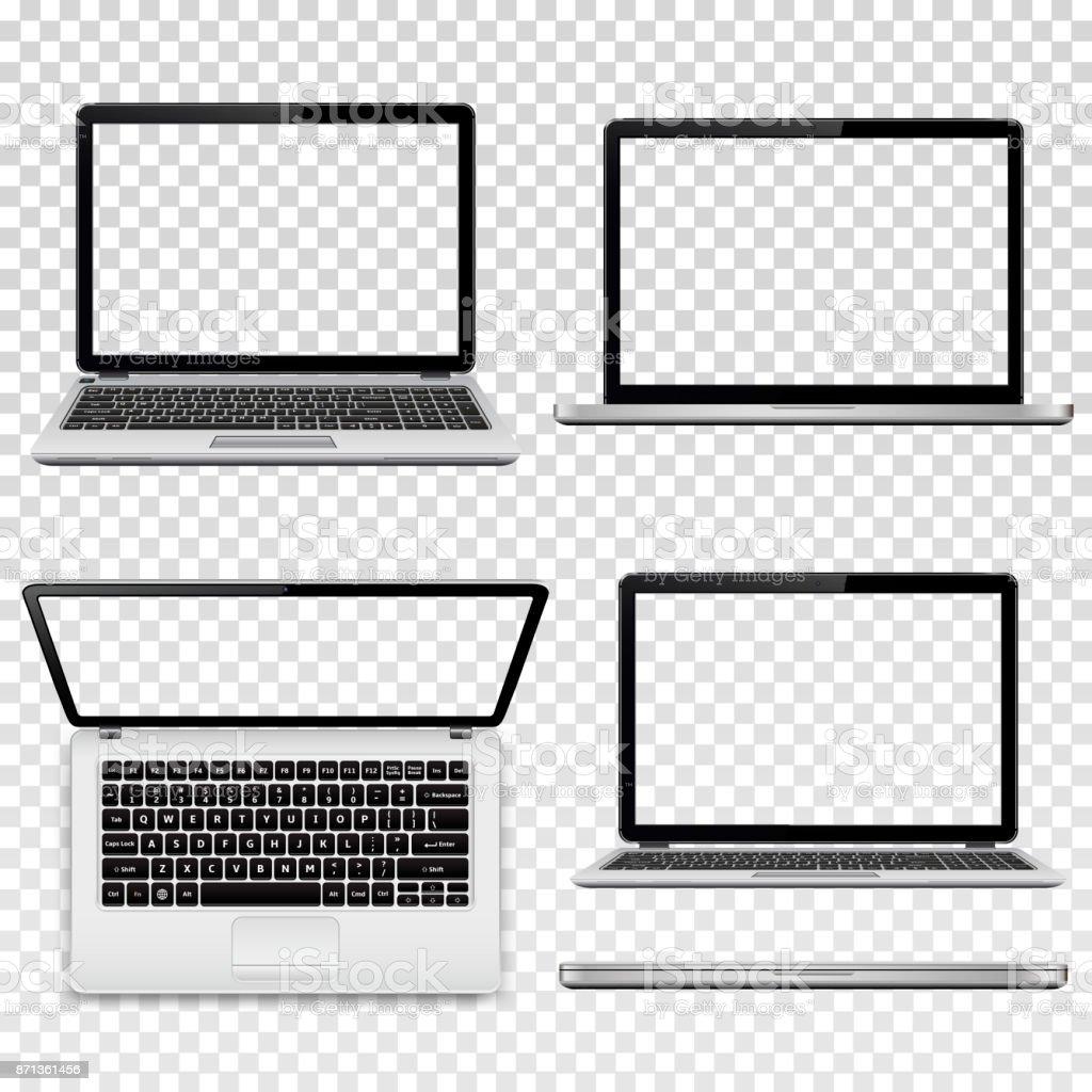 Laptops mit transparenten Bildschirm auf transparenten Hintergrund isoliert – Vektorgrafik