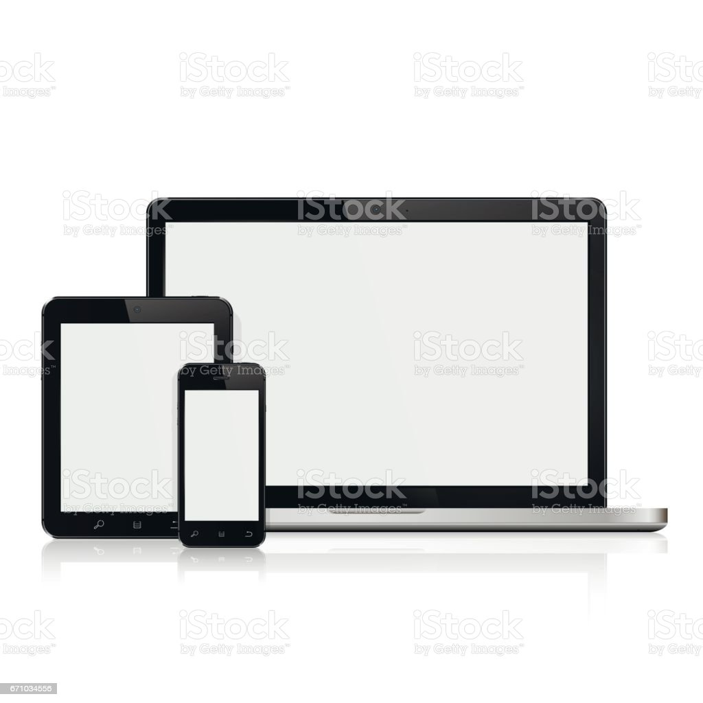 Laptop,tablet and smartphone mockup vector art illustration