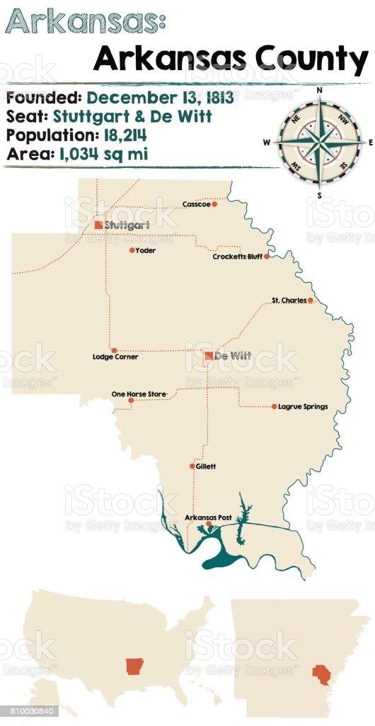 アーカンソー州アーカンソー郡の大規模かつ詳細な地図 ...