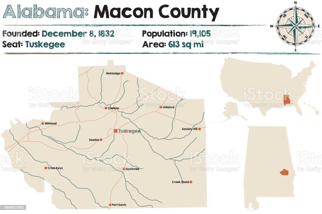 Große und detaillierte Karte von Macon County in Alabama Lizenzfreies große und detaillierte karte von macon county in alabama stock vektor art und mehr bilder von alabama