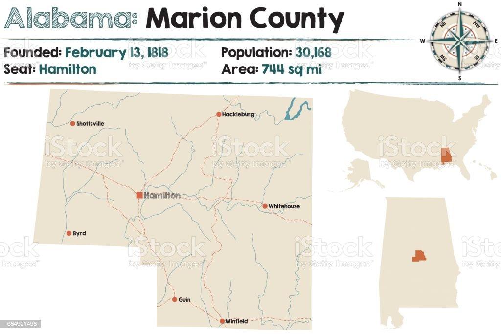 Große und detaillierte Karte von Marion County in Alabama Lizenzfreies große und detaillierte karte von marion county in alabama stock vektor art und mehr bilder von alabama