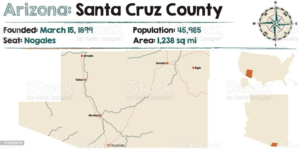Large And Detailed Map Of Santa Cruz County In Arizona stock vector