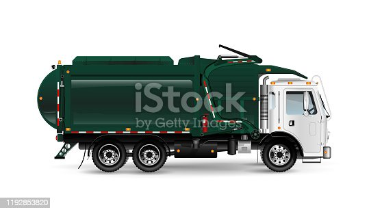 Large and powerful garbage truck in dark green. Frontal loading of containers. For an article about cleaning up or removing trash. On white background