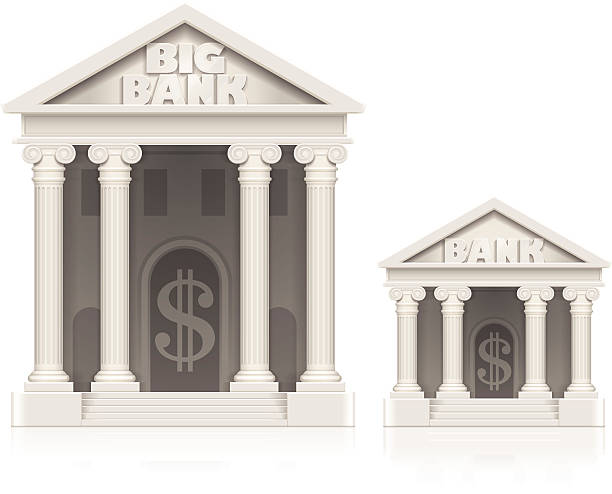 illustrations, cliparts, dessins animés et icônes de grandes et petites bank building icons - tirelire
