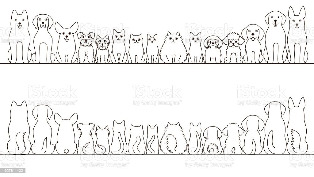 large and small dogs and cats banner set, front view and rear view ベクターアートイラスト