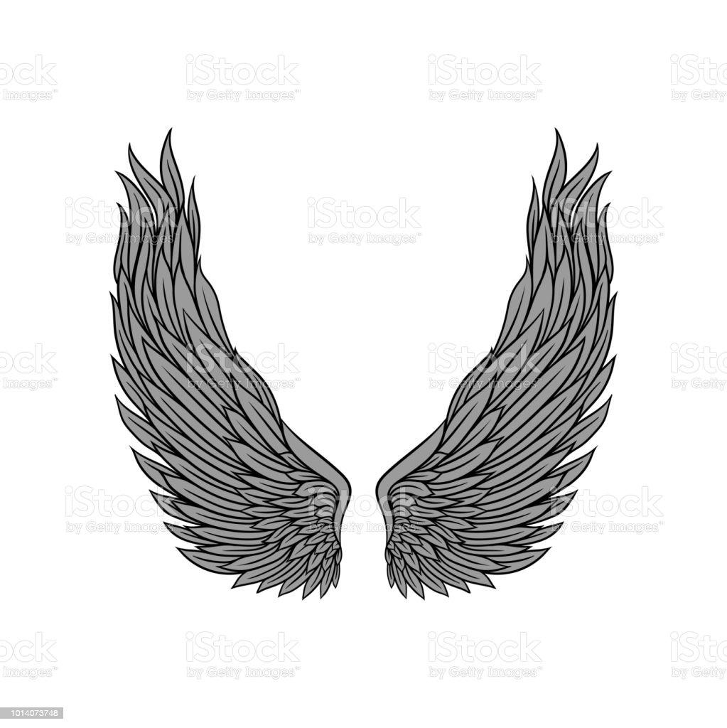 ailes dange grand gris plumes et contour noir conception de tatouage