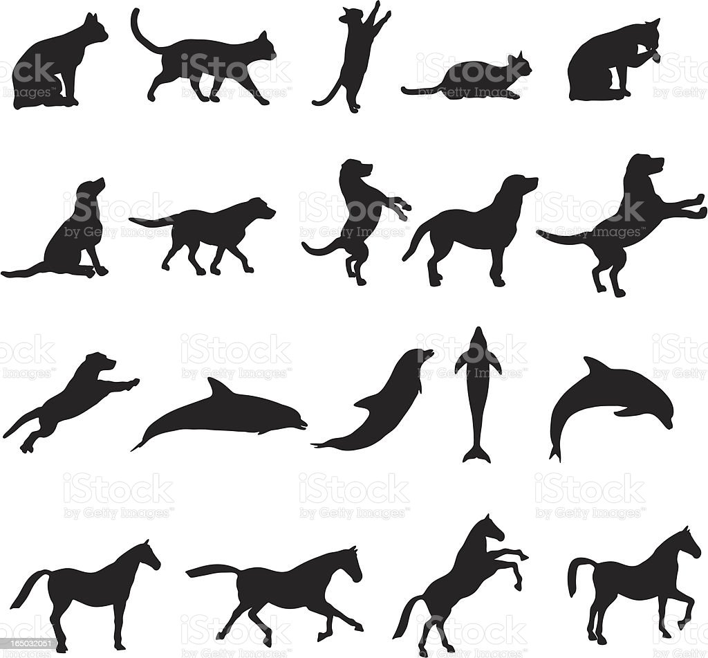 Large animal silhouette collection vector art illustration