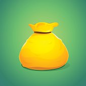Large bag of gold color, vector illustration