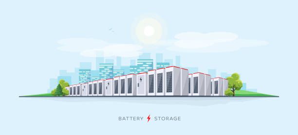 Large Battery Storage System Vector illustration of large rechargeable lithium-ion battery energy storage stationary for renewable electric power stations. Backup power energy storage cloud server system. rechargeable battery stock illustrations