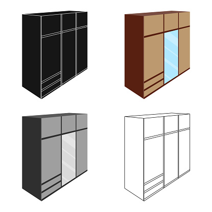A large bedroom wardrobe with mirrow and lots of drawers and cells.Bedroom furniture single icon in cartoon style vector symbol stock illustration web
