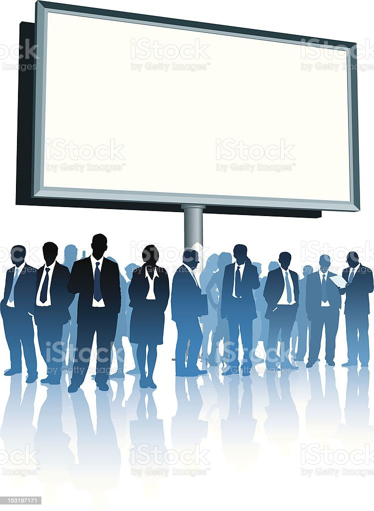 A large blank billboard with business people below royalty-free stock vector art