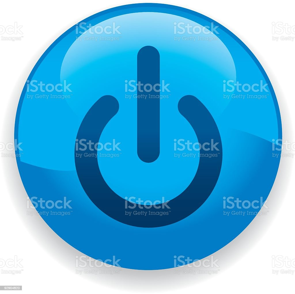 Large blue Power On icon on white background royalty-free stock vector art