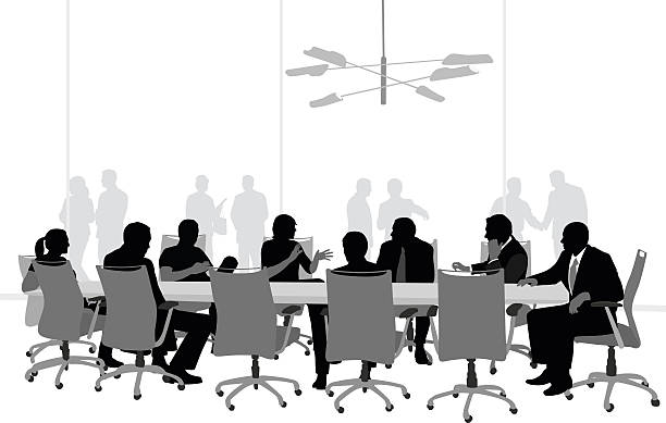 Large Boardroom Business Meeting vector art illustration