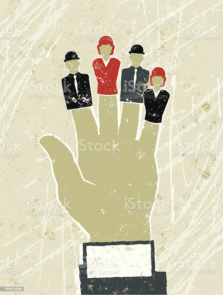 Large Businessman's Hand with Business Men and Women Finger Puppets royalty-free stock vector art