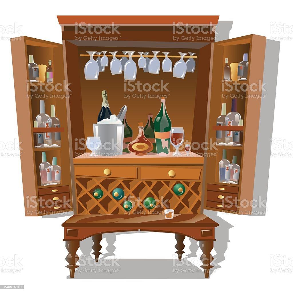 Großer Schrank Bar Mit Flaschen Und Küchenbedarf Kaufen