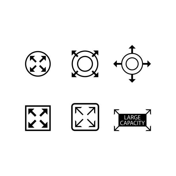 large capacity icon, expand icon vector illustration full stock illustrations