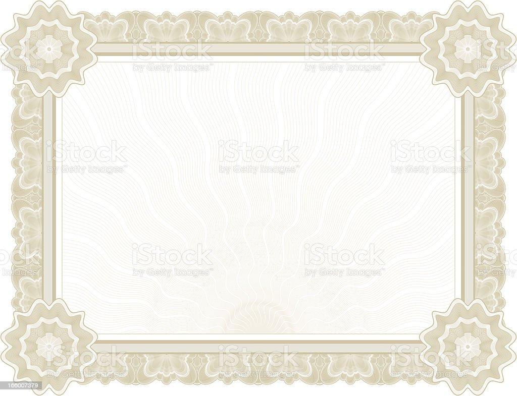 Large Certificate - Diploma (TAN VARIANT) royalty-free stock vector art