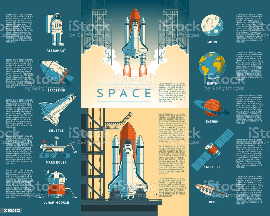 Large collection icons of space vector art illustration
