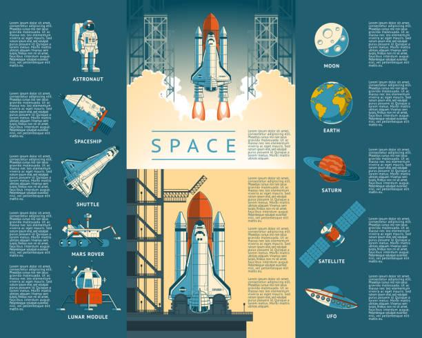 stockillustraties, clipart, cartoons en iconen met large collection icons of space - ruimtevaart voertuig