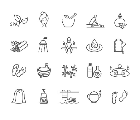 Large collection of black and white spa icons