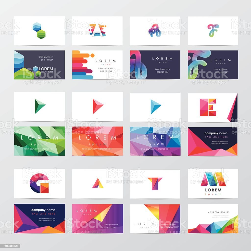 large collection of colorful business card template designs vector art illustration