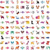 Large collection of colorful cartoon animal icons