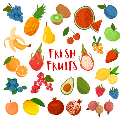 Large collection of colorful cartoon Fresh Fruit
