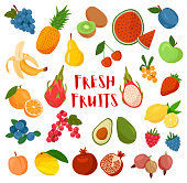 Large collection of colorful cartoon Fresh Fruit around central text isolated on white for design elements or nutrition themes, colored vector illustration
