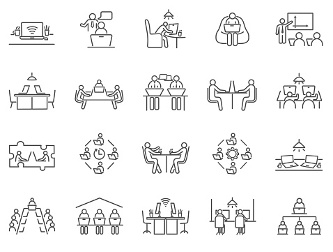 Large collection of co-working or teamwork icons