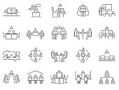 istock Large collection of co-working or teamwork icons 1268956070