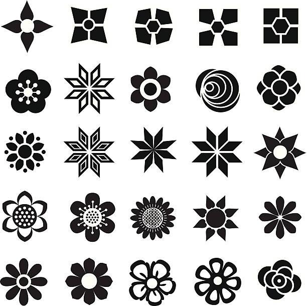 stockillustraties, clipart, cartoons en iconen met large collection of flower vectors - pauwenkers