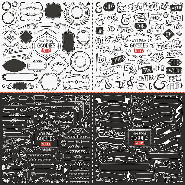 large collection of hand drawn vector design elements - doodles and hand drawn frames stock illustrations, clip art, cartoons, & icons