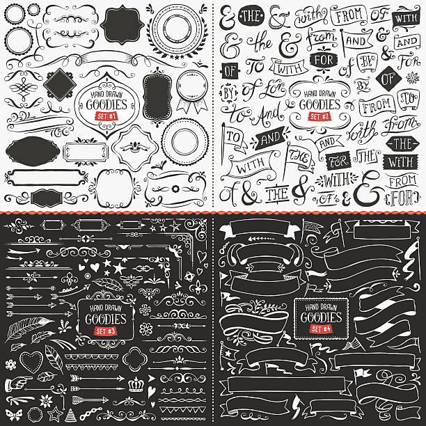 stockillustraties, clipart, cartoons en iconen met large collection of hand drawn vector design elements - borden en symbolen