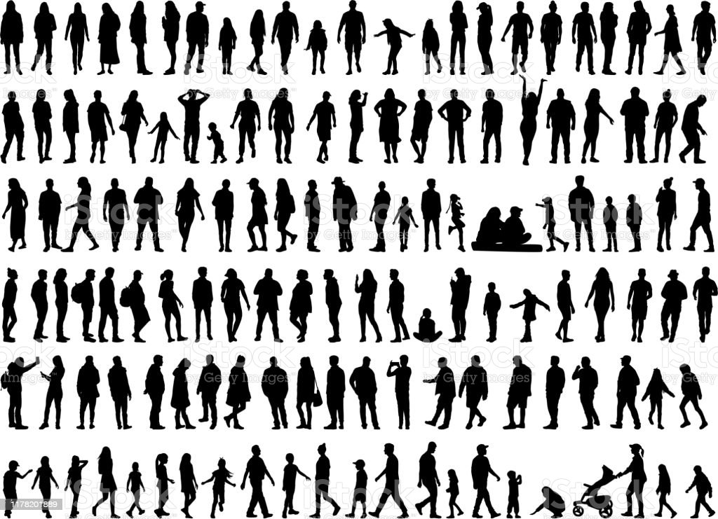 Large collection of silhouettes concept. - Royalty-free Adulto arte vetorial