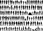 Large collection of silhouettes concept.