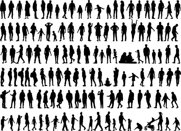 large collection of silhouettes concept. - people stock illustrations