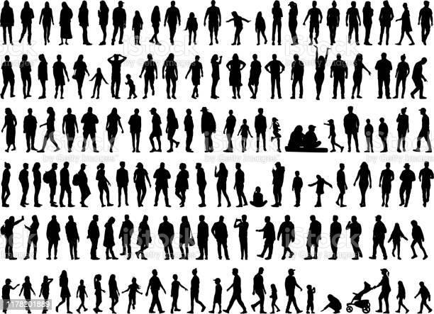 Große Sammlung Von Silhouetten Konzept Stock Vektor Art und mehr Bilder von Aktiver Lebensstil