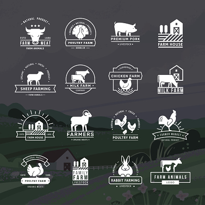 A large collection of vector logos for farmers, grocery stores and other industries