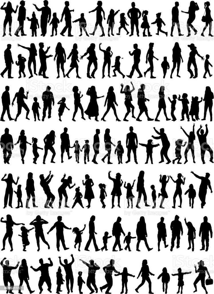 Large collection silhouettes of people. vector art illustration