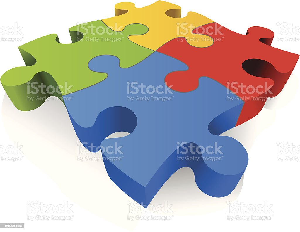 Large Colorful 3D Jigsaw Puzzle Pieces Royalty Free 3d Stock