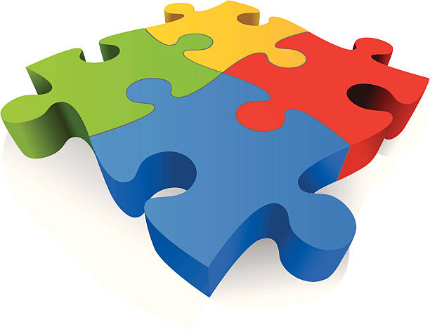Large Colorful 3D Jigsaw Puzzle Pieces Vector Art Illustration